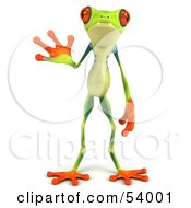 Cute 3d Green Poison Dart Frog Facing Front And Waving