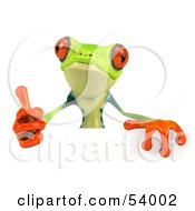 Cute 3d Green Poison Dart Frog Giving The Thumbs Up And Standing Behind A Blank Sign