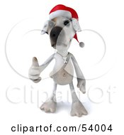 3d Jack Russell Terrier Pooch Character Wearing A Santa Hat And Giving The Thumbs Up - Pose 1