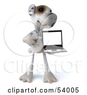 3d Jack Russell Terrier Pooch Character With A Laptop - Pose 5