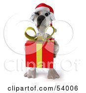 3d Jack Russell Terrier Pooch Character Carrying A Christmas Gift - Pose 3