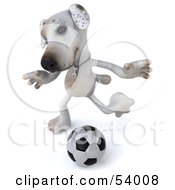 3d Jack Russell Terrier Pooch Character Playing Soccer - Pose 4