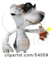 3d Jack Russell Terrier Pooch Character Wearing Sunglasses And Sipping A Drink - Pose 2