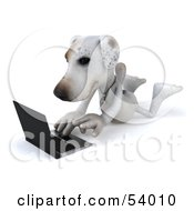 3d Jack Russell Terrier Pooch Character With A Laptop - Pose 2