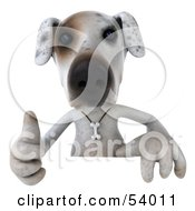 Royalty Free RF Clipart Illustration Of A 3d Jack Russell Terrier Pooch Character Giving The Thumbs Up And Standing Behind A Sign