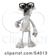 3d Jack Russell Terrier Pooch Character Wearing Glasses - Pose 3