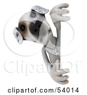 3d Jack Russell Terrier Pooch Character Looking Around A Sign