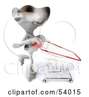 3d Jack Russell Terrier Pooch Character Pushing A Shopping Cart - Pose 4