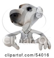 3d Jack Russell Terrier Pooch Character Pointing Down At And Standing Behind A Sign