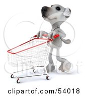 3d Jack Russell Terrier Pooch Character Pushing A Shopping Cart - Pose 2