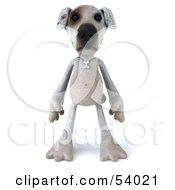3d Jack Russell Terrier Pooch Character Standing And Facing Front