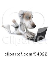 3d Jack Russell Terrier Pooch Character With A Laptop - Pose 3