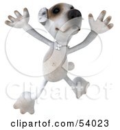 Royalty Free RF Clipart Illustration Of A 3d Jack Russell Terrier Pooch Character Jumping