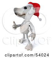 3d Jack Russell Terrier Pooch Character Wearing A Santa Hat And Giving The Thumbs Up - Pose 2