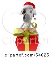 3d Jack Russell Terrier Pooch Character Carrying A Christmas Gift Pose 2 by Julos