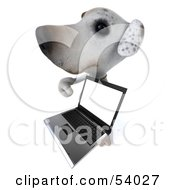 3d Jack Russell Terrier Pooch Character With A Laptop Pose 8 by Julos