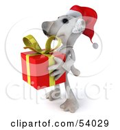 3d Jack Russell Terrier Pooch Character Carrying A Christmas Gift Pose 4 by Julos