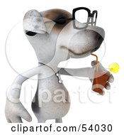 3d Jack Russell Terrier Pooch Character Wearing Glasses And Sipping A Beverage Pose 2 by Julos
