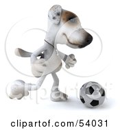 3d Jack Russell Terrier Pooch Character Playing Soccer Pose 2 by Julos