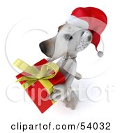3d Jack Russell Terrier Pooch Character Carrying A Christmas Gift Pose 1 by Julos