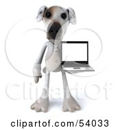 3d Jack Russell Terrier Pooch Character With A Laptop Pose 4 by Julos