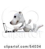 3d Jack Russell Terrier Pooch Character With A Laptop Pose 1 by Julos