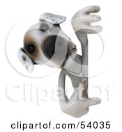 Royalty Free RF Clipart Illustration Of A 3d Jack Russell Terrier Pooch Character Pointing And Looking Around A Sign by Julos