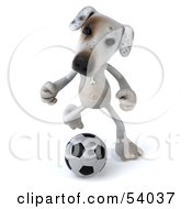 3d Jack Russell Terrier Pooch Character Playing Soccer Pose 3 by Julos