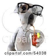 3d Jack Russell Terrier Pooch Character Wearing Glasses And Sipping A Beverage Pose 1 by Julos