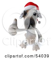 3d Jack Russell Terrier Pooch Character Wearing A Santa Hat And Giving The Thumbs Up Pose 3 by Julos
