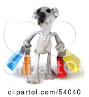 3d Jack Russell Terrier Pooch Character Carrying Shopping Bags Pose 1 by Julos