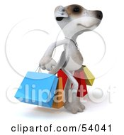 3d Jack Russell Terrier Pooch Character Carrying Shopping Bags Pose 2 by Julos