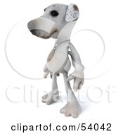 3d Jack Russell Terrier Pooch Character Standing And Facing Left by Julos