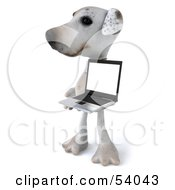3d Jack Russell Terrier Pooch Character With A Laptop Pose 6 by Julos