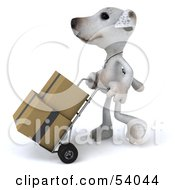 3d Jack Russell Terrier Pooch Character Moving Boxes On A Dolly Pose 1 by Julos