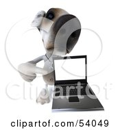 3d Jack Russell Terrier Pooch Character With A Laptop Pose 7 by Julos
