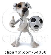 3d Jack Russell Terrier Pooch Character Playing Soccer Pose 1 by Julos