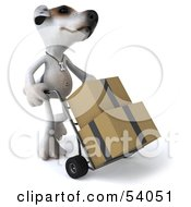 3d Jack Russell Terrier Pooch Character Moving Boxes On A Dolly Pose 2 by Julos