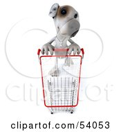 3d Jack Russell Terrier Pooch Character Pushing A Shopping Cart - Pose 3