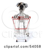 3d Jack Russell Terrier Pooch Character Pushing A Shopping Cart Pose 1 by Julos