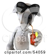 3d Jack Russell Terrier Pooch Character Wearing Sunglasses And Sipping A Drink Pose 1 by Julos