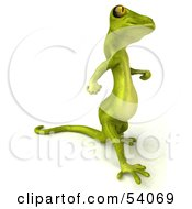 Royalty Free RF Clipart Illustration Of A 3d Gecko Character Walking To The Right