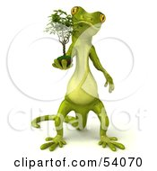 Royalty Free RF Clipart Illustration Of A 3d Gecko Character Carrying A Plant Version 1