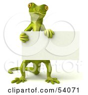 Royalty Free RF Clipart Illustration Of A 3d Gecko Character Holding A Blank Sign Pose 1 by Julos