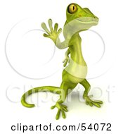 Royalty Free RF Clipart Illustration Of A 3d Gecko Character Standing And Waving Version 3