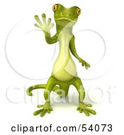 Royalty Free RF Clipart Illustration Of A 3d Gecko Character Standing And Waving Version 1 by Julos