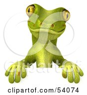 Royalty Free RF Clipart Illustration Of A 3d Gecko Character Standing Behind A Blank Sign Pose 1 by Julos