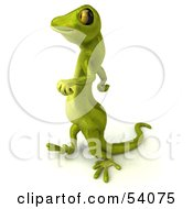Royalty Free RF Clipart Illustration Of A 3d Gecko Character Walking To The Left
