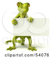Royalty Free RF Clipart Illustration Of A 3d Gecko Character Holding A Blank Sign Pose 2