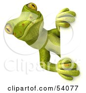 Royalty Free RF Clipart Illustration Of A 3d Gecko Character Looking Around A Blank Sign Pose 1